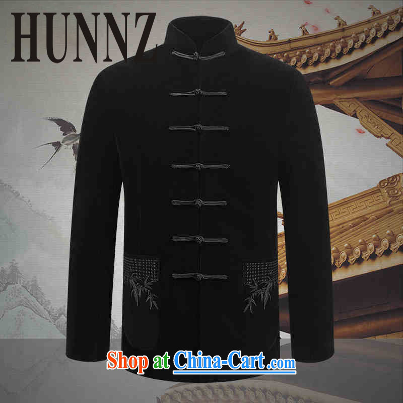 Products HUNNZ comfortable gold velour men's Chinese style Chinese elderly in long-sleeved jacket Chinese men's jacket, black 190