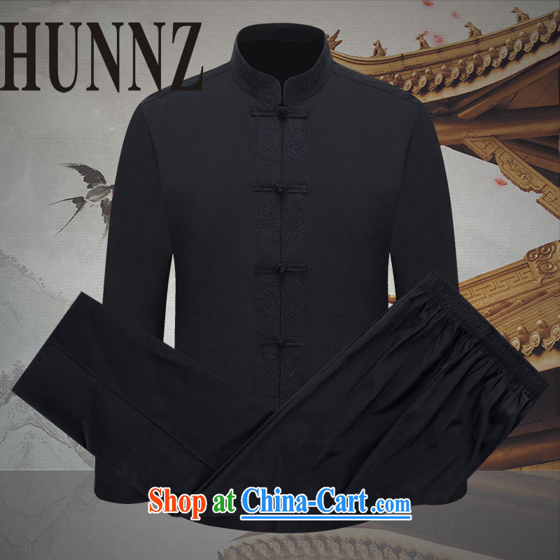 Name HUNNZ, new China wind men's long-sleeved Tang package installed, and an elegant tray snap embroidery ethnic wind clothes black 190, HUNNZ, shopping on the Internet