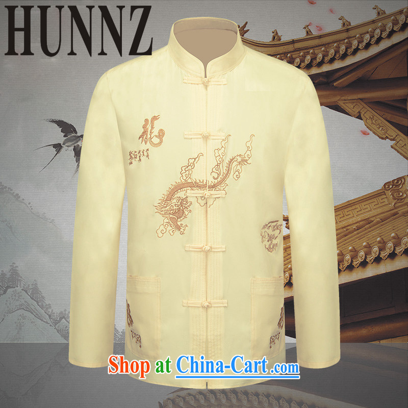 Products HUNNZ New Products men's long-sleeved Chinese China wind embroidery Generalissimo father in the traditional festive T-shirt pale yellow 190