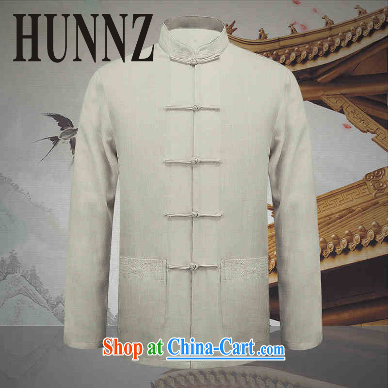 Products HUNNZ natural cotton the commission men Tang with long-sleeved middle-aged and older persons Dad T-shirt jacket for the sober men's white 190