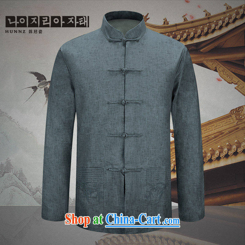 Products HANNIZI new natural linen men's jacket classic Chinese wind smock fine embroidery father with light gray 190
