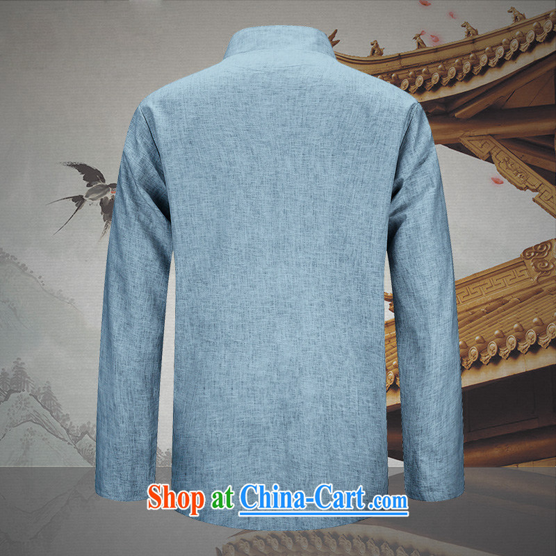 Products HUNNZ new natural linen men's jacket classic Chinese wind smock fine embroidery father with light blue 190, HUNNZ, shopping on the Internet