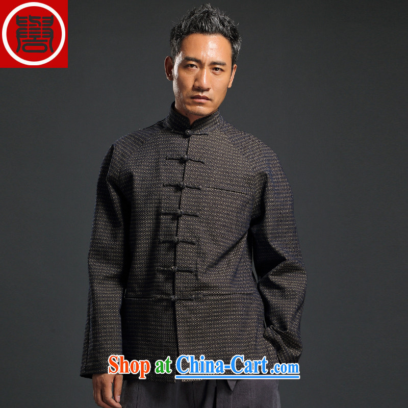 Internationally renowned Chinese style Chinese men's cowboy style hand-tie jacket Stylish retro T-shirt, collar jacket and dark gray 4 XL