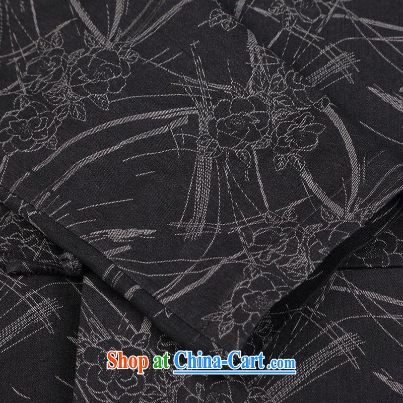 Internationally renowned Chinese wind knitting cowboy Chinese men and Chinese hand-tie jacket stylish retro T-shirt, collar jacket dark gray 4 XL, internationally renowned (CHIYU), online shopping