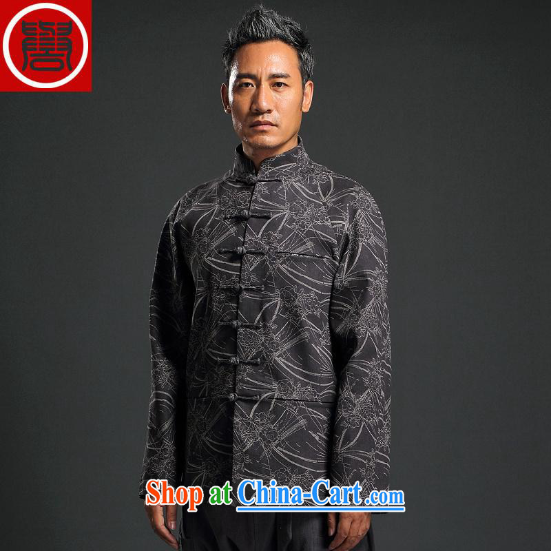 Internationally renowned Chinese wind knitting stamp men Chinese Chinese hand-tie jacket stylish retro T-shirt, collar jacket dark gray 3 XL