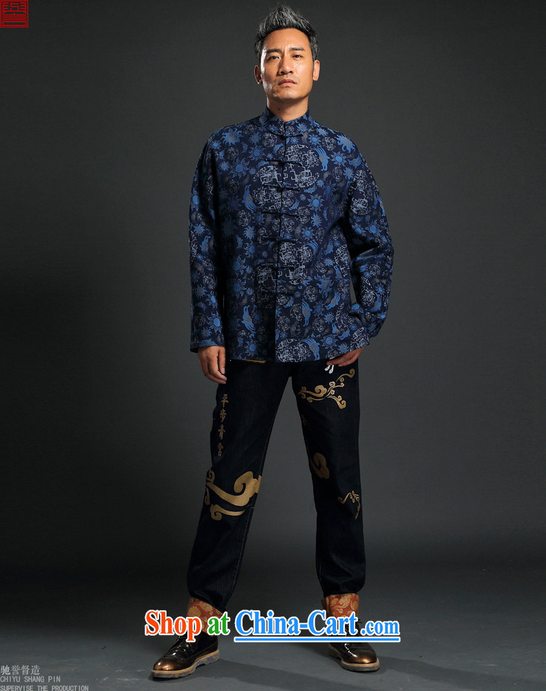 Internationally renowned 2015 China wind knitting cowboy Chinese men Chinese hand-tie jacket stylish jacket, collar retro stamp T-shirt blue 3XL pictures, price, brand platters! Elections are good character, the national distribution, so why buy now enjoy more preferential! Health