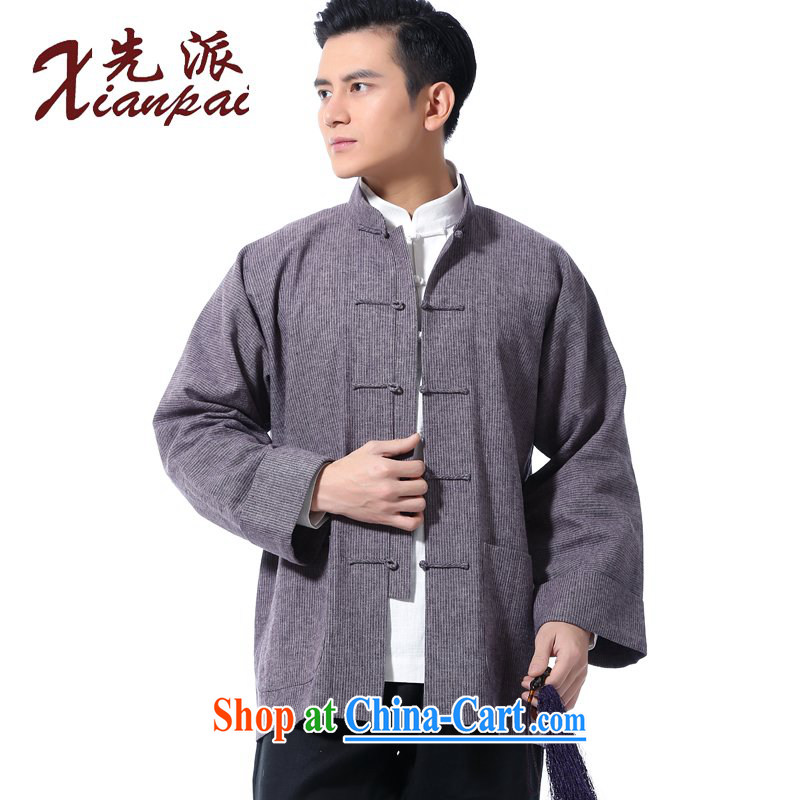 First summer new Chinese linen long-sleeved T-shirt Chinese men and elderly father single jacket casual relaxed his father, for the charge-back spring long-sleeved Chinese wind linen vertical streaks, long-sleeved clothing XXL