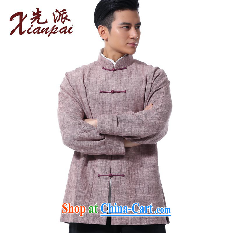 First Spring New Products Chinese men napped linen double-sleeved jacket stylish China wind Youth Arts leisure loose T-shirt-tie up for National wind is the jacket 4 XL large code 3 day shipping