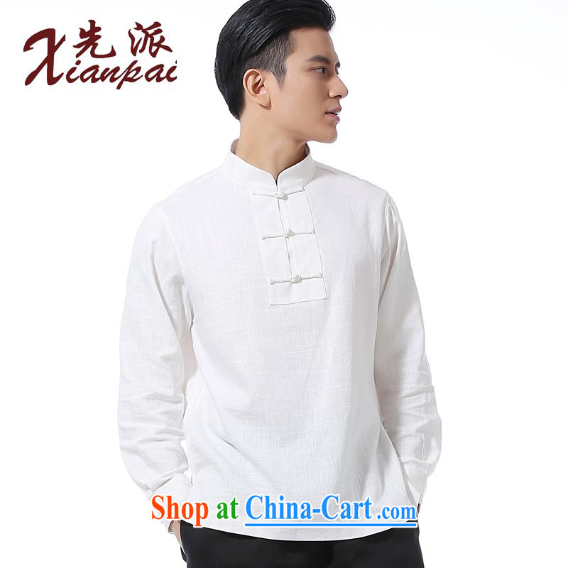 First spring and summer, new Chinese men's long-sleeved linen shirt, collar-tie kit and long-sleeved T-shirt Chinese men's casual relaxed T-shirt stylish Chinese wind youth dress white linen-shirt XXL