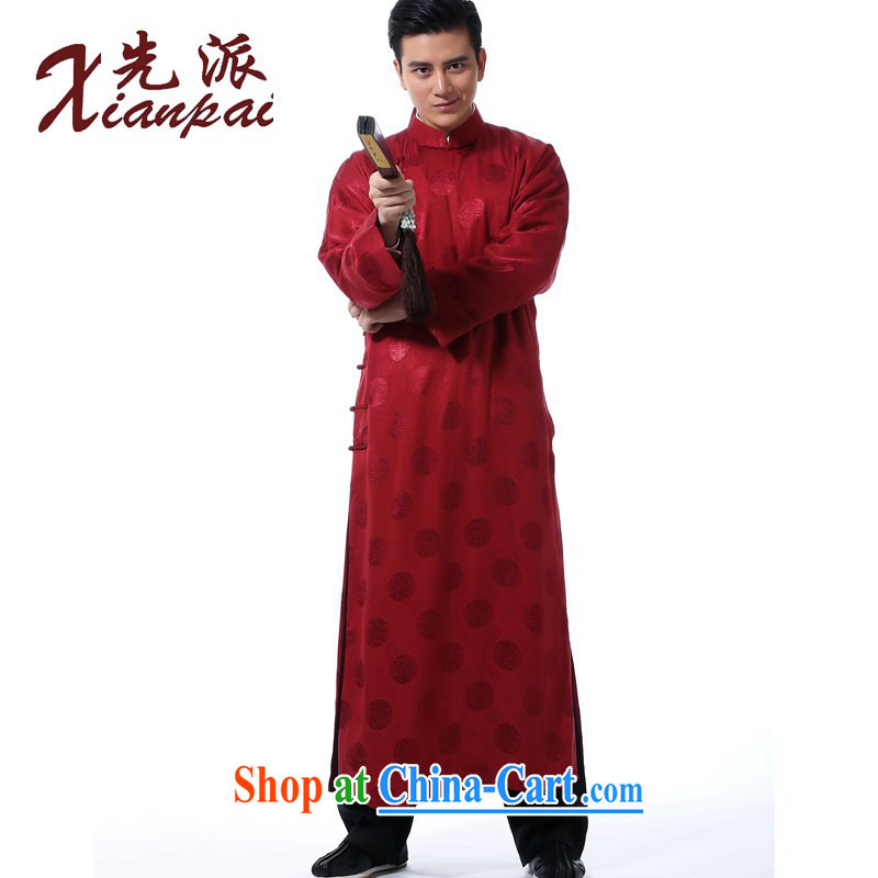 First, Chinese men's traditional retro-shoulder new Chinese Mandarin dress robe stylish Chinese style silk gown is withheld, for national wind the bridegroom wedding dress red circle silk scent crepe gown XL 3 new pre-sale 5 day shipping