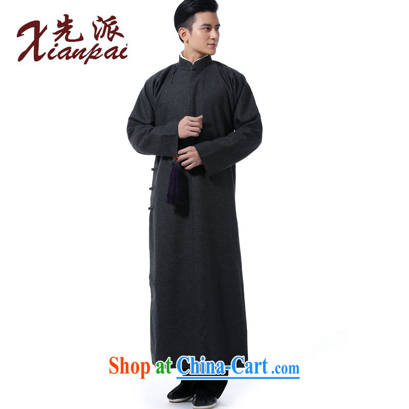 First autumn and winter, Chinese men's hair is crisp Chinese robe crosstalk dress gown and stylish Chinese wind-buckle up for National wind in older high-end dress gray the hair, robes XXL new pre-sale 3 day shipping