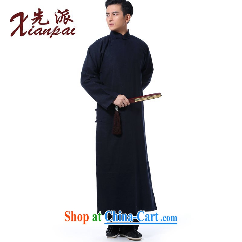 First Spring traditional retro-shoulder linen Chinese, leading the charge-back crosstalk dress robe Chinese Chinese style Chinese, for long gown Youth Arts van blue linen gown XL 3 new pre-sale 5 day shipping