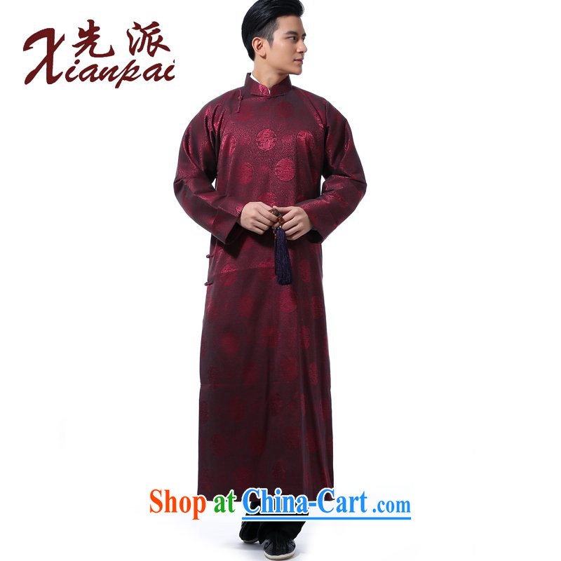 to send Chinese men's Spring and Autumn and crosstalk dress the gown and show their new Chinese robe double-sleeved gown stylish Chinese wind-buckle up for leisure loose red circle gown XL 3 new pre-sale 5 day shipping
