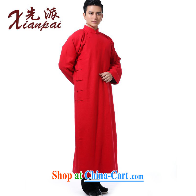 First Chinese men's Spring and Autumn and crosstalk the gown and show new Chinese wedding groom serving China wind, for the howling ghost flax Youth Arts high-end dress red linen robe 3XL new pre-sale 5 day shipping