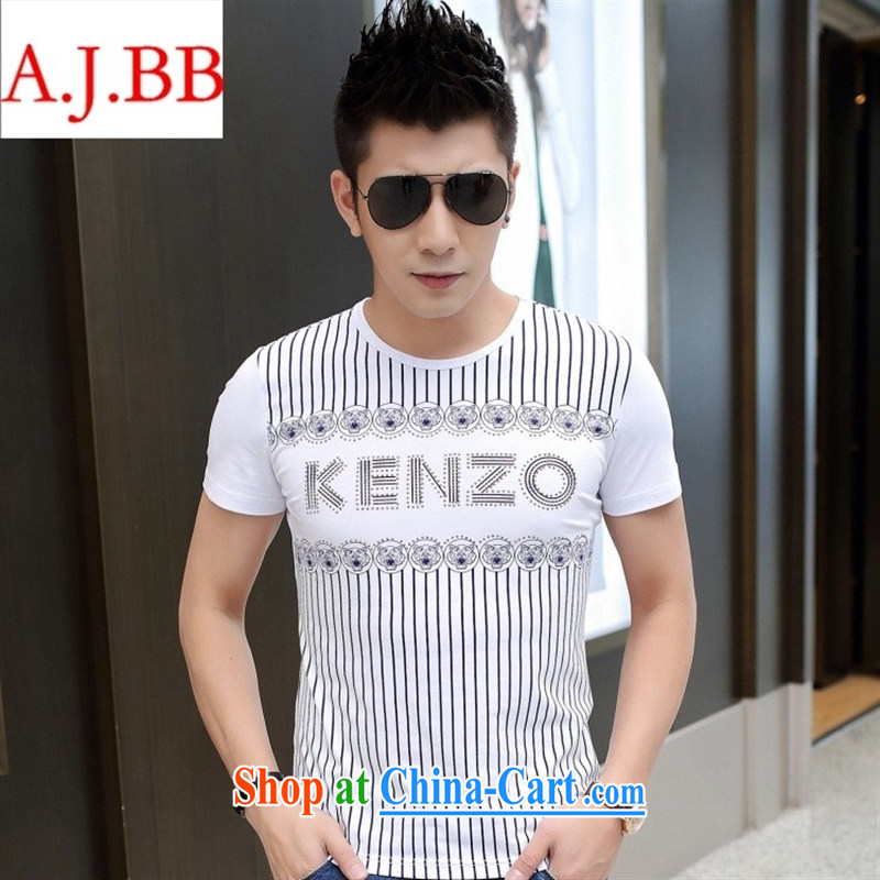 9 month _ Men's short-sleeved shirt T 2015 summer New Men's casual stylish stripes optimize stamp loose-Shirts Po blue XL