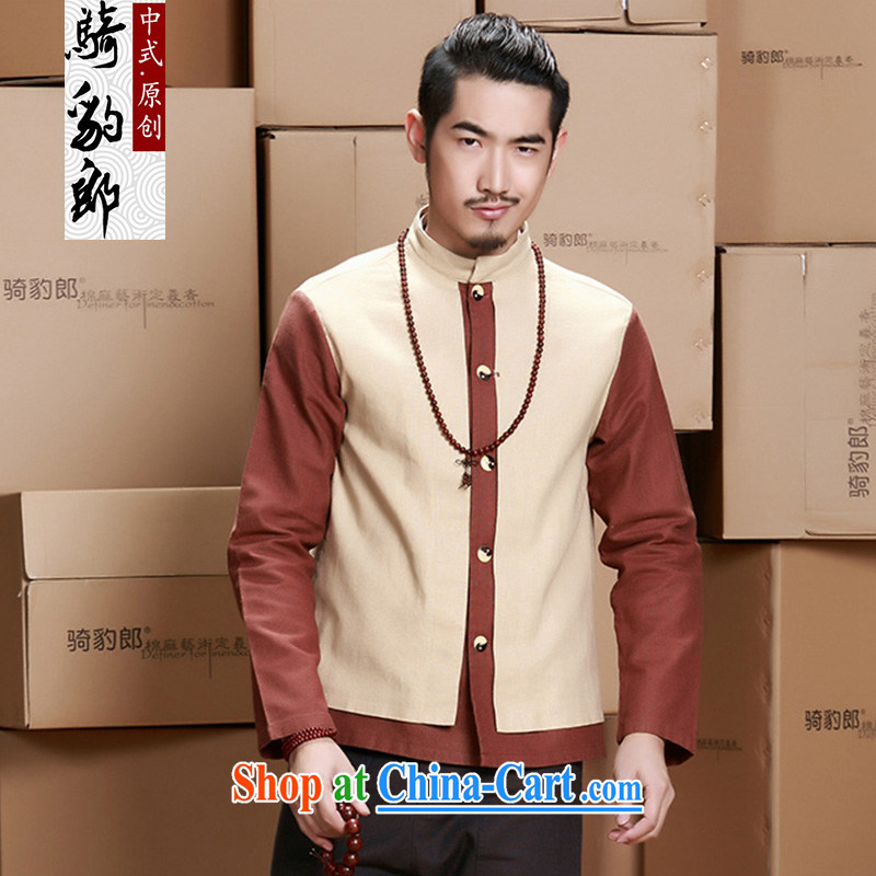 Riding a leopard jacket, men's national costumes China wind Chinese long-sleeved cotton Ma men's autumn and winter new improved Han-M yellow XXXL