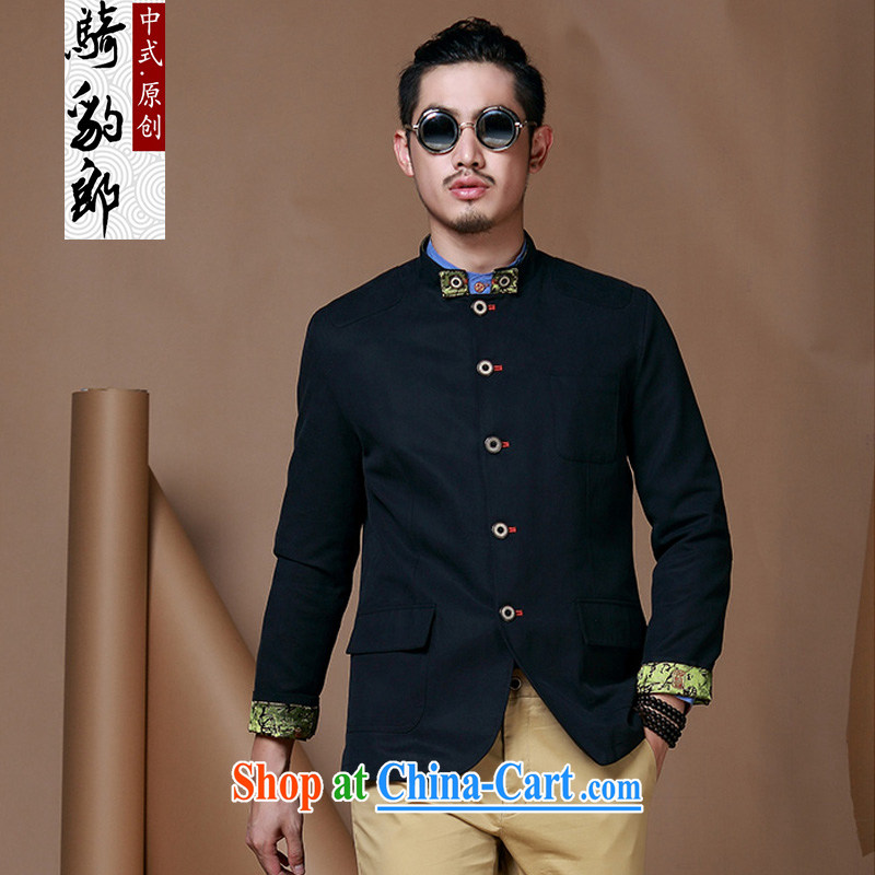 Riding a leopard health men's jackets China wind jacket, for autumn and winter new long jacket knocked color smock black XXXL