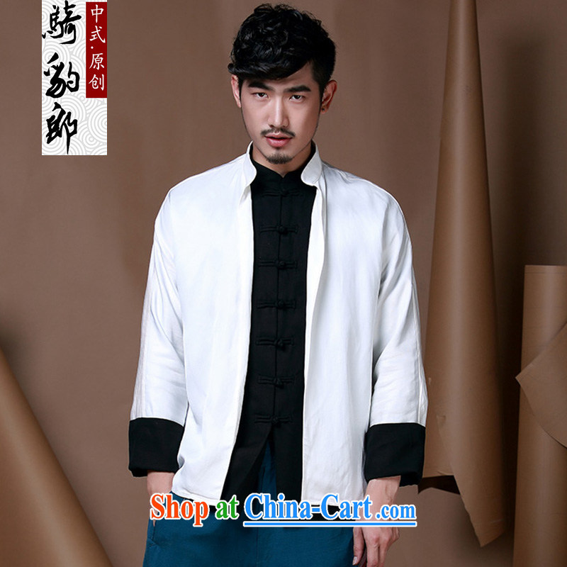 Riding a leopard health autumn jacket men and Chinese China wind improved Han-serving Nepal men's wear long-sleeved cotton the leave of two-color hit the buckle clothing white XXXL