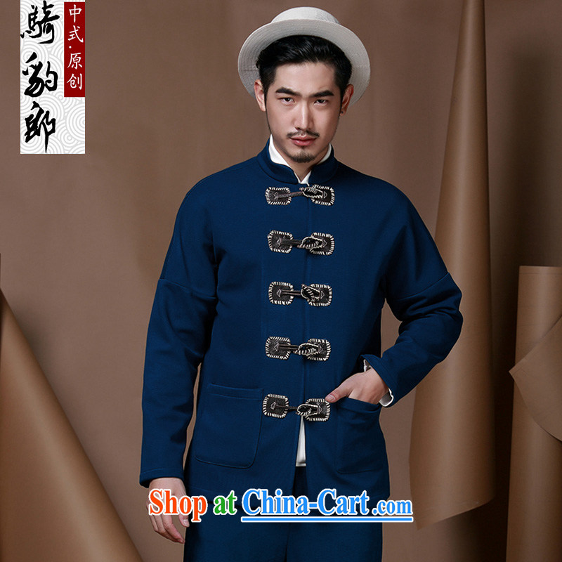 Riding a leopard health Chinese Generalissimo men jacket 2015 autumn new paragraph for the cynosure serving T-shirt men's horns for Chinese Ethnic Wind and the blue XXXL
