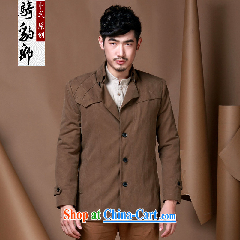 Riding a leopard health men's jackets smock 2015 autumn new lapel male leisure coat dark khaki XXXL