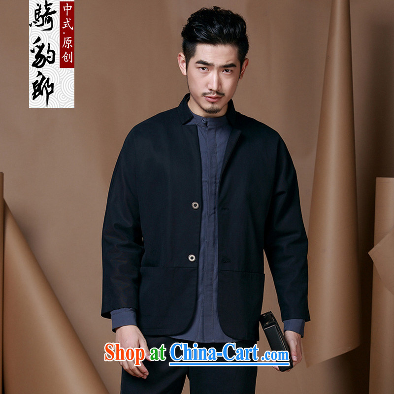 Riding a leopard, who wore a male Chinese Tang replace Generalissimo autumn jacket China wind men's national costume cotton long-sleeved T-shirt the black XXXL