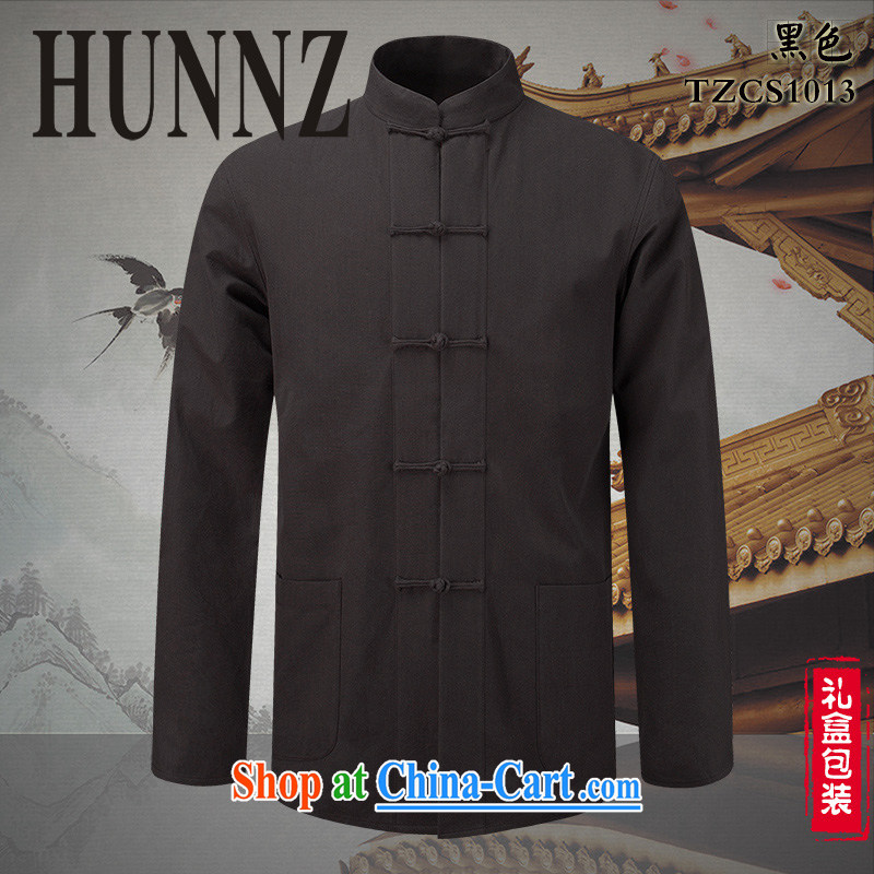 Products HUNNZ classical Chinese style Chinese, for the charge-back men's pure cotton linen shirt Ethnic Wind men's long-sleeved black 190