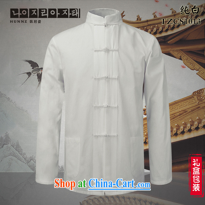 Products HANNIZI classical Chinese style Chinese, who is detained men's cotton linen shirt Ethnic Wind men's long-sleeved white 190