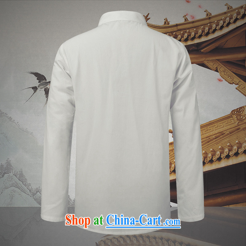 Products HANNIZI classical Chinese style Chinese, for the charge-back men's pure cotton linen shirt Ethnic Wind men's long-sleeved white 190, Korea, (hannizi), shopping on the Internet