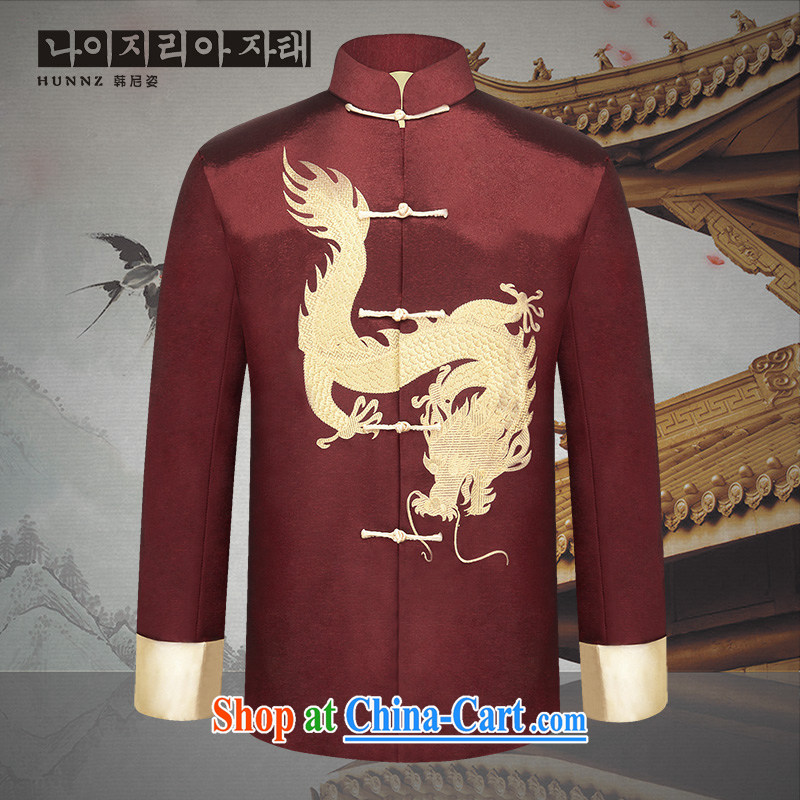 Products HANNIZI new festive Chinese dragon men's Chinese Classical had silk Dad installed China wind nation with deep red 185