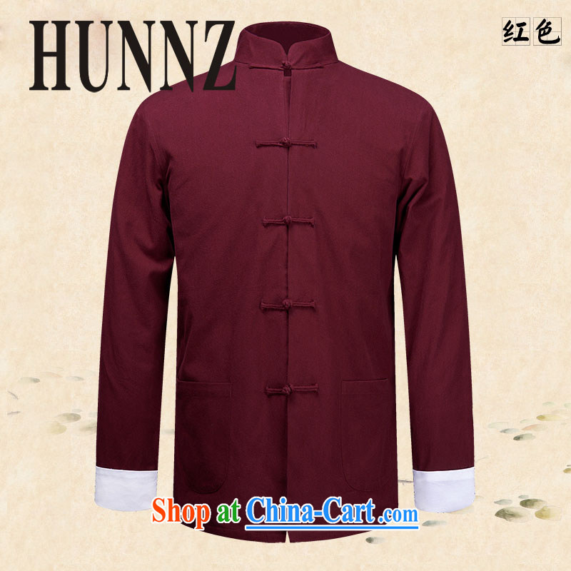 Products HUNNZ new classical Chinese style male Chinese Chinese long-sleeved jacket natural cotton The Kung Fu shirt smock deep red 190, HUNNZ, shopping on the Internet
