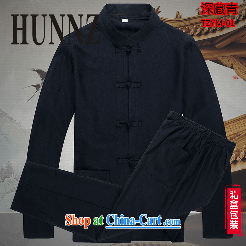 Products HUNNZ new natural linen china wind classic men's Chinese long-sleeved Kit cotton the old muslin Kung Fu black 185, HUNNZ, shopping on the Internet