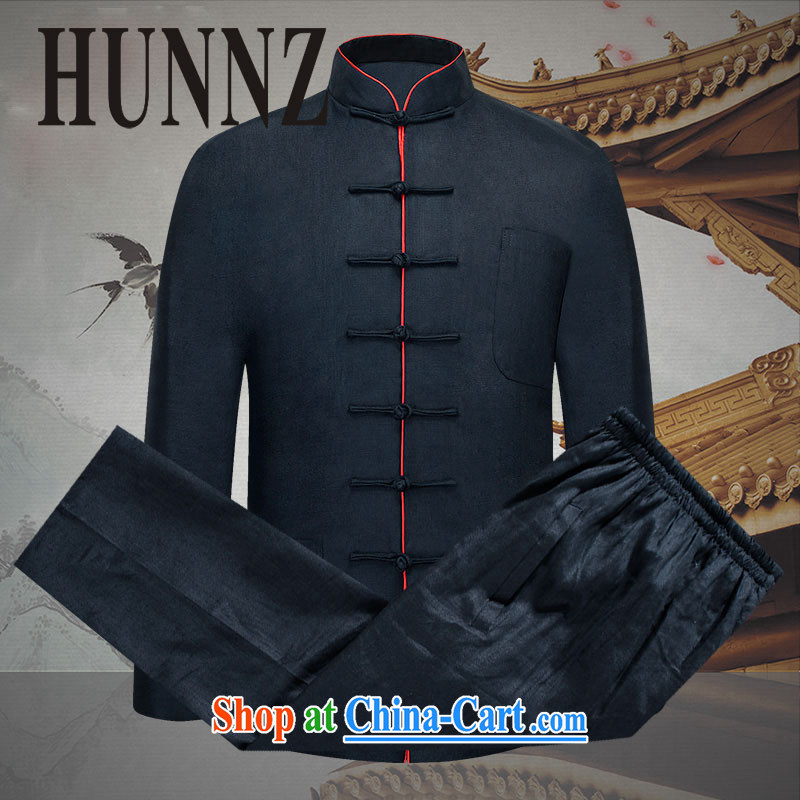 Products HUNNZ China wind men Tang replace natural linen package loose, the charge-back national costume Chinese Kung Fu black 190
