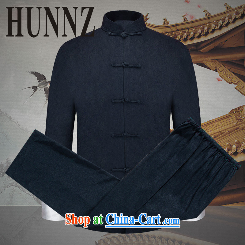 Name HUNNZ, natural cotton the men's kit China wind men's Tang replace smock-snap national dress long-sleeved jacket dark blue 190, HUNNZ, shopping on the Internet