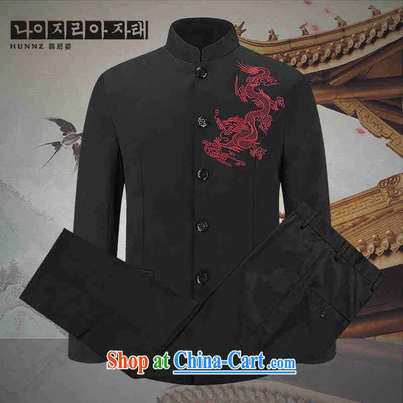 Products HANNIZI classic stab Dragon Chinese men Generalissimo in package older show the clothing, for China wind jacket black 190