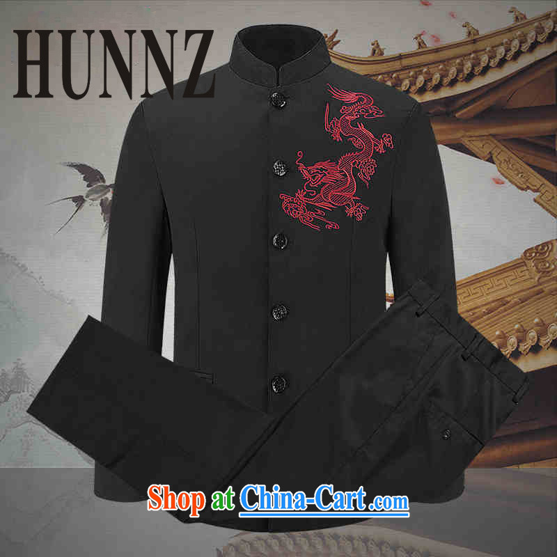 Products HUNNZ classic stab Dragon Chinese men Generalissimo in package older show the clothing, for China wind jacket black 190
