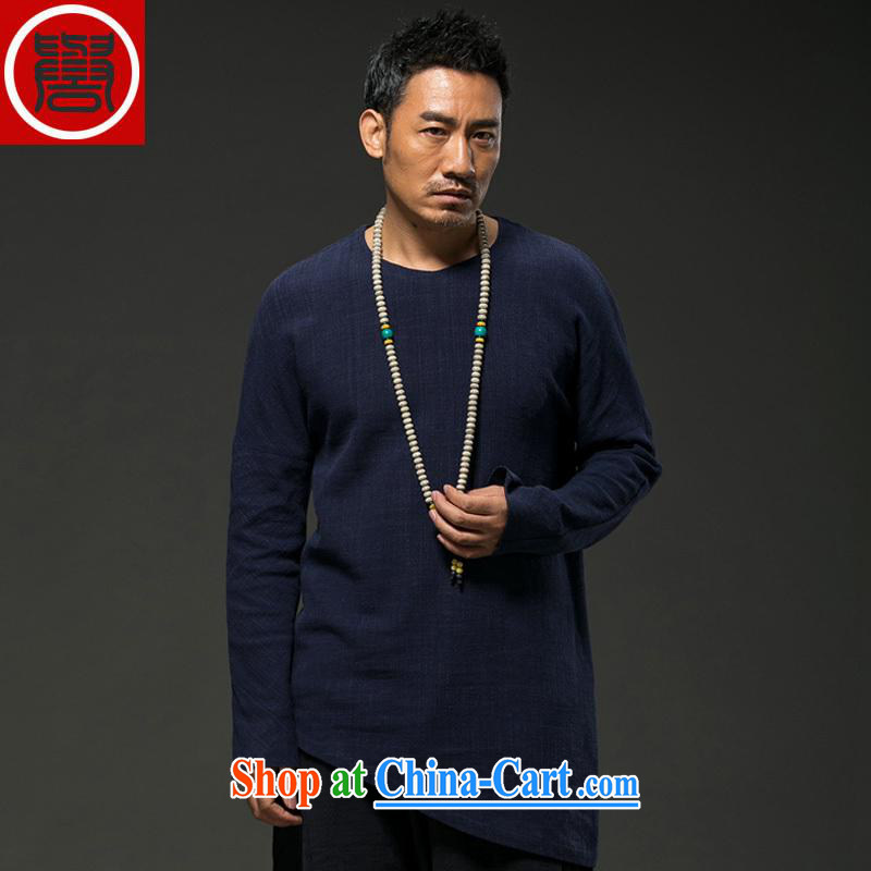 Internationally renowned 2015 China wind spring, men's linen personalized long-sleeved T 桖 loose Chinese men's spring and fall short of the T-shirt, blue (XXXL)