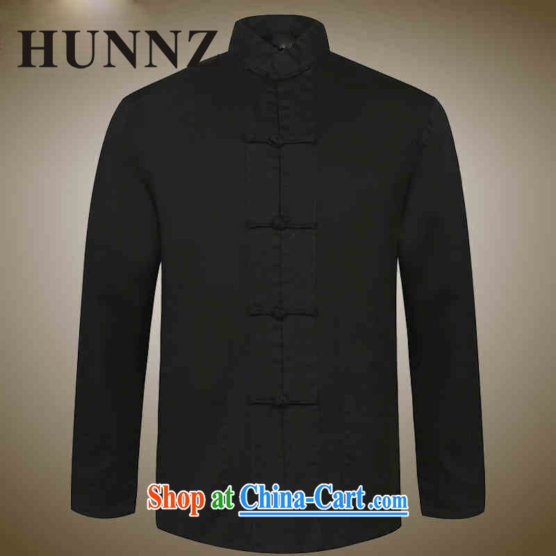 Products HUNNZ new classical Chinese style men's Chinese old napped long-sleeved shirt, and for the charge-back dress black 180