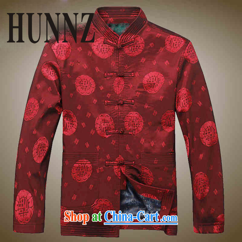 Products HUNNZ men Tang jackets Chinese jacket classic The Life silk father with male Chinese wind long-sleeved deep red 190, HUNNZ, shopping on the Internet