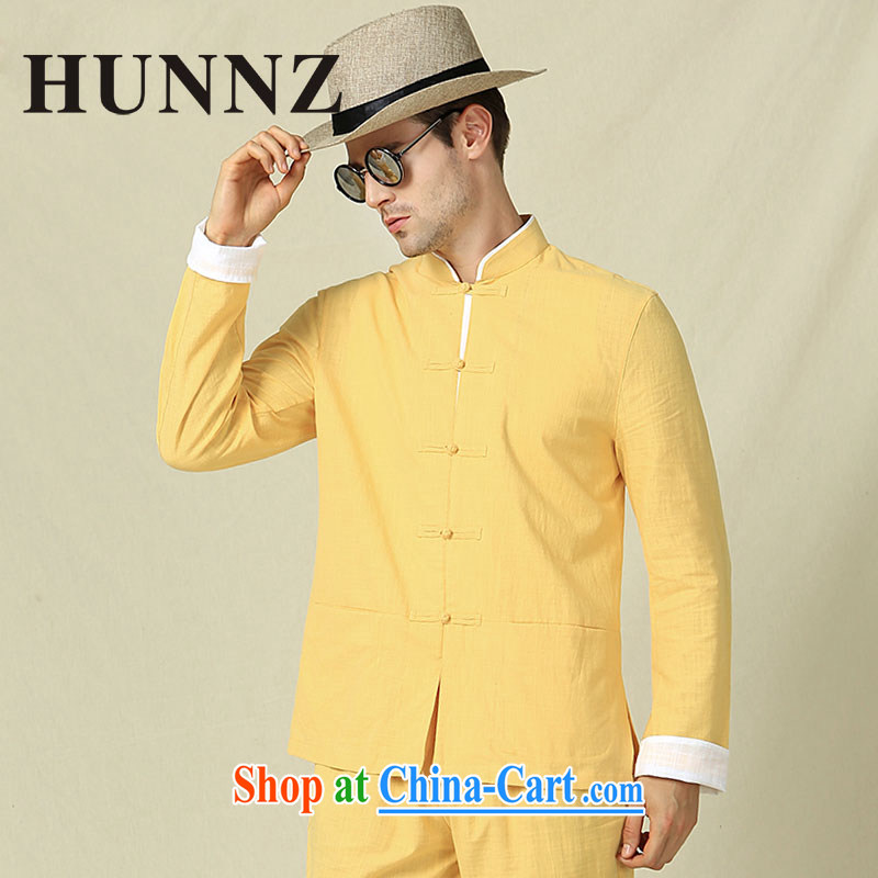 Products HUNNZ new classical Chinese long-sleeved shirt, for Chinese wind jacket and Chinese-tie retro kung fu yellow 185