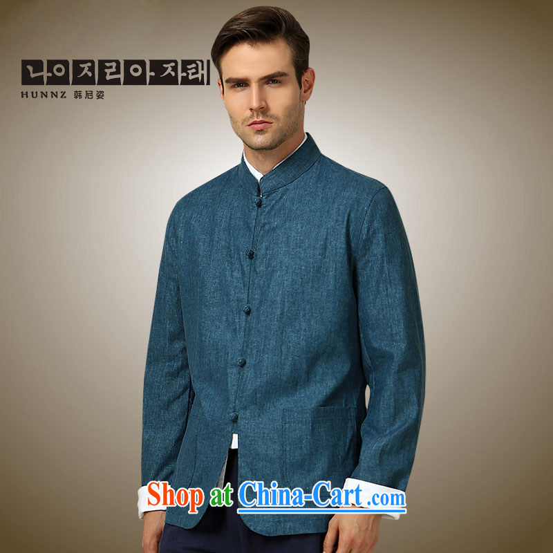 Products HANNIZI 2015 new classical minimalist men Tang jackets China wind up for the charge-back Chinese men's long-sleeved blue 190
