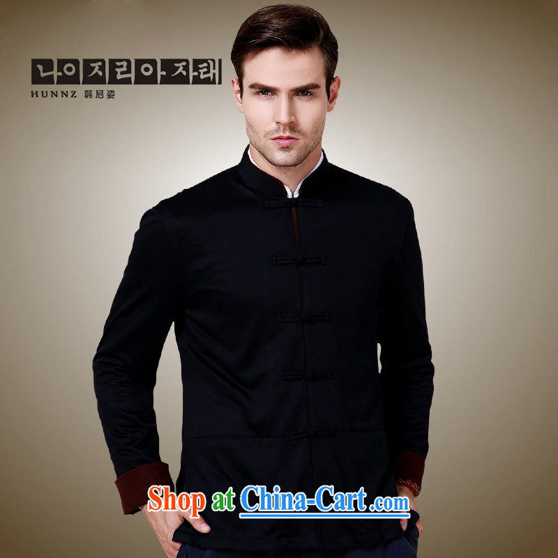 Products HANNIZI stylish and simple China wind up for the charge-back men's Chinese long-sleeved jacket classical Chinese jacket black 190