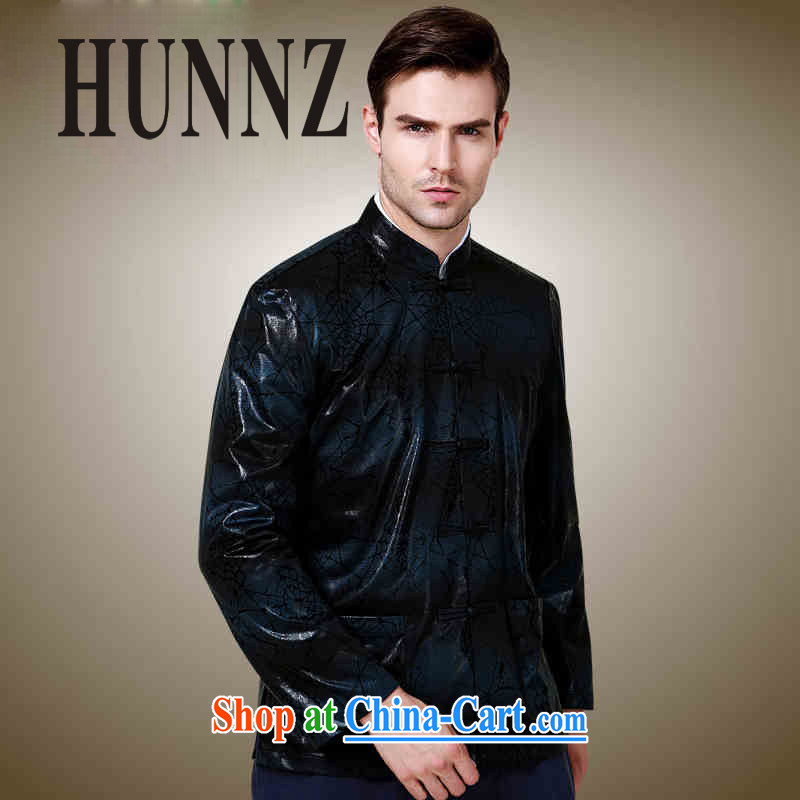 Products HUNNZ classical minimalist men Chinese polyester long-sleeved jacket China wind up for the charge-back jacket dark blue 190