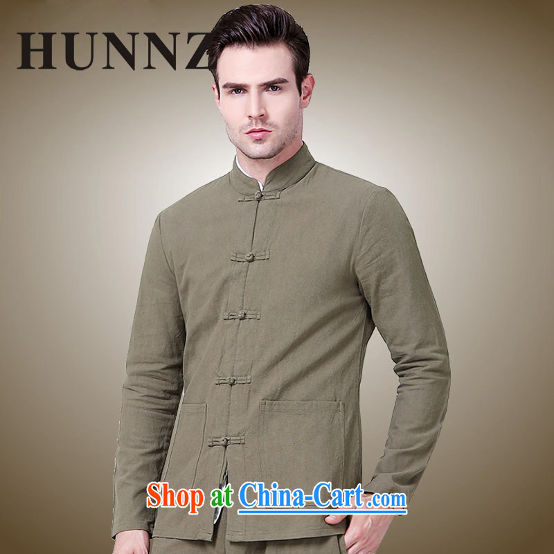 Products HUNNZ 2015 New Men Tang jackets China wind surrounded the collar-tie men's minimalist Chinese shirt khaki 185