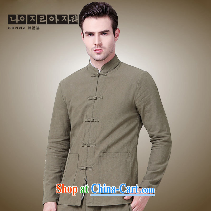 Products HANNIZI 2015 New Men Tang jackets China wind surrounded the collar-tie men's minimalist Chinese shirt khaki 185