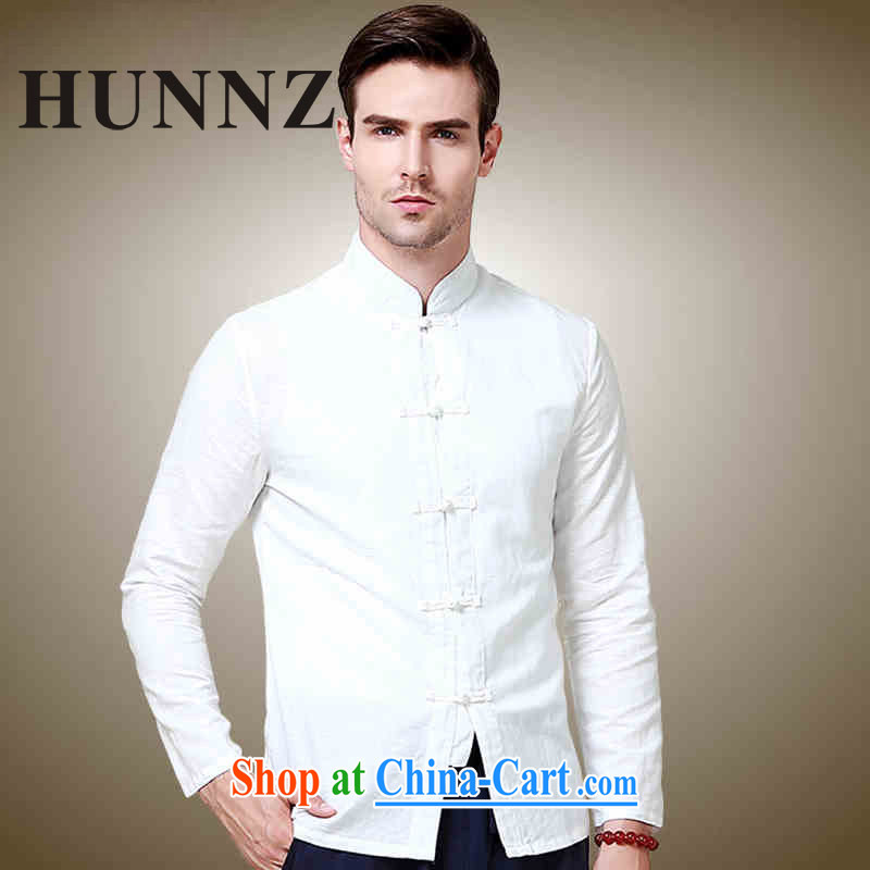 Products HUNNZ natural cotton the male tang on long-sleeved shirt China wind up collar shirt Solid Color Chinese-tie men's white 185, HUNNZ, shopping on the Internet