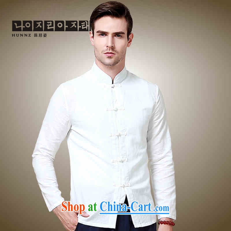 Name HANNIZI, natural cotton the commission men Tang with long sleeved shirt China wind up collar shirt Solid Color Chinese-tie men's white 185, Korea, (hannizi), shopping on the Internet