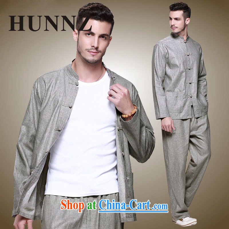 Products HUNNZ New Products natural cotton the male Tang replace Kit Chinese national costume classic Chinese wind-tie men's gray 185, HUNNZ, shopping on the Internet