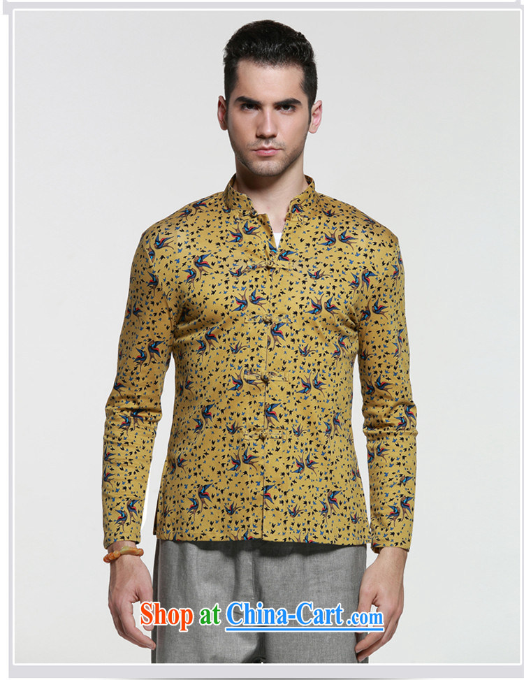 name brands HUNNZ classical Chinese style men's Chinese, for the charge-back Chinese shirt and stylish small floral long-sleeved T-shirt yellow 185 pictures, price, brand platters! Elections are good character, the national distribution, so why buy now enjoy more preferential! Health