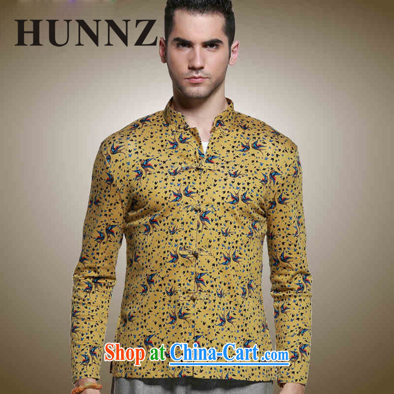 Products HUNNZ classical Chinese style men's Chinese, for the charge-back Chinese shirt men's stylish and small floral long-sleeved T-shirt yellow 185