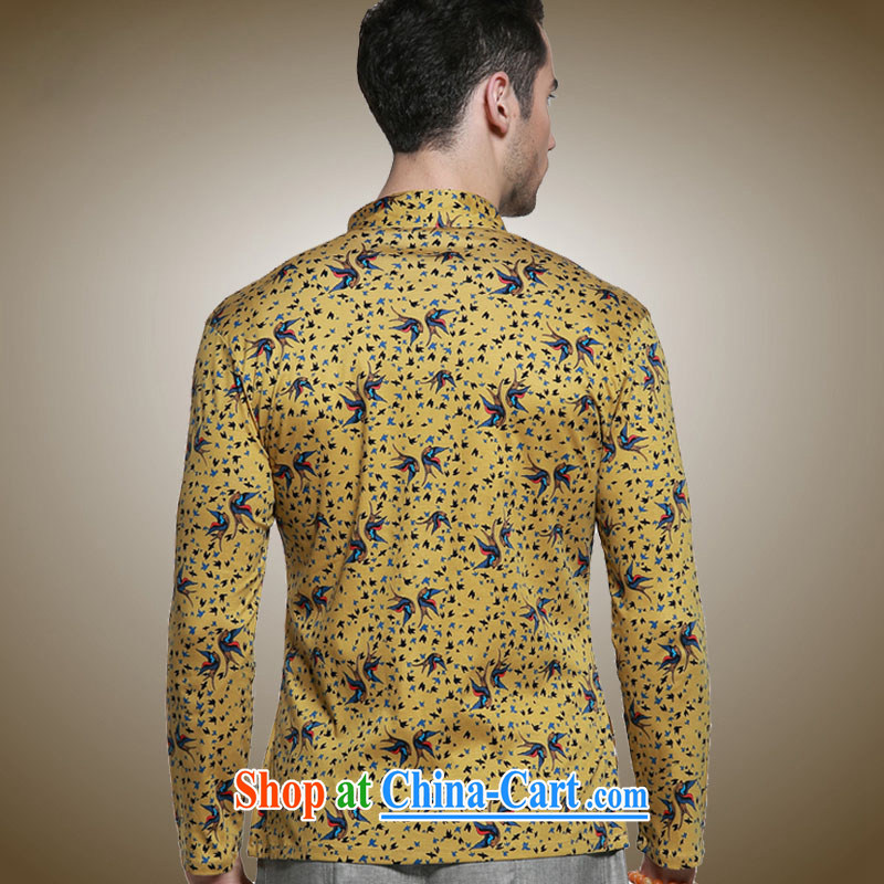 Products HUNNZ classical Chinese style men's Chinese, for the charge-back Chinese shirt and stylish small floral long-sleeved T-shirt yellow 185, HUNNZ, shopping on the Internet